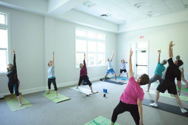 senior yoga class wide