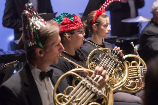 Close-up of symphony christmas performance
