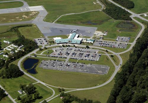 aerial shot of wilmington airport